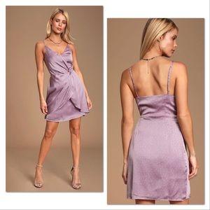 NWT Lavender Polka Dot Satin Mini Dress